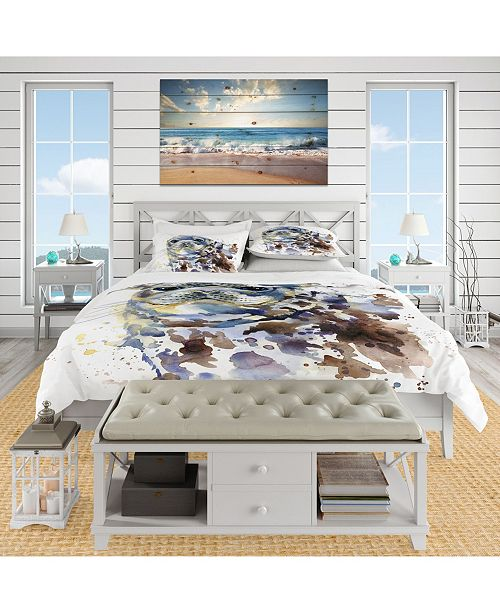 Design Art Designart 'Blue Marine Seal Watercolor' Nautical and Coastal Duvet Cover Set - King