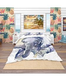Designart 'Baby Elephant Blue Watercolor' Tropical Duvet Cover Set - King