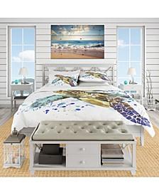 Designart 'Blue Sea Turtle Illustration' Nautical and Coastal Duvet Cover Set - Queen