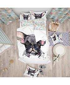 Designart 'Cute Watercolor Puppy Dog' Modern and Contemporary Duvet Cover Set - Queen