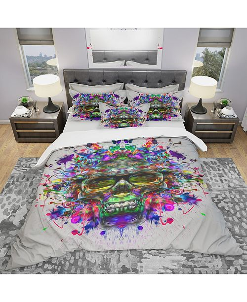 Design Art Designart 'Skull With Glasses And Paint Splashes' Modern and Contemporary Duvet Cover Set - Queen