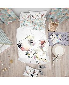 Designart 'Bull Terrier Dog Watercolor' Modern and Contemporary Duvet Cover Set - Twin