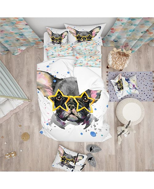 Design Art Designart 'Black French Bulldog With Stars' Modern and Contemporary Duvet Cover Set - Twin