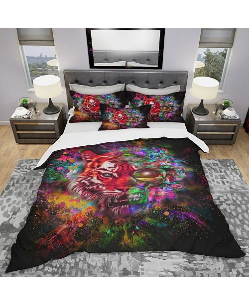 Design Art Designart 'Colorful Tiger Head With Half Skull' Modern and Contemporary Duvet Cover Set - King
