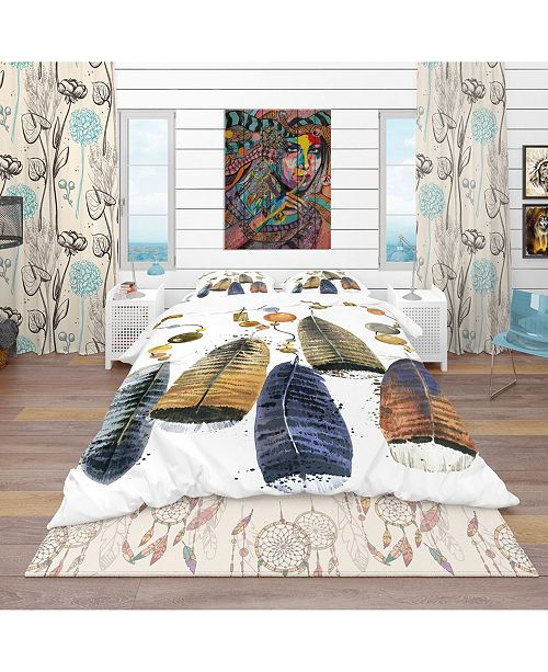 Design Art Designart 'Watercolor Feathers Set' Southwestern Duvet Cover Set - Twin