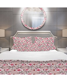 Designart 'Red Rose In Pink Background' Traditional Duvet Cover Set - Twin