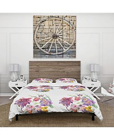 Designart 'Beautiful Floral Texture' Cabin and Lodge Duvet Cover Set - King