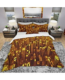 Designart 'Golden City From The Sky' Modern and Contemporary Duvet Cover Set - Twin