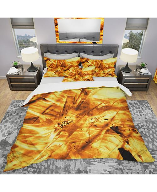 Design Art Designart 'Yellow Sandstorm' Modern and Contemporary Duvet Cover Set - King