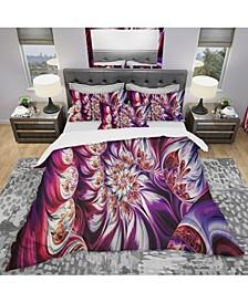 Designart 'Lavender Floral Pyramid' Modern and Contemporary Duvet Cover Set - Queen