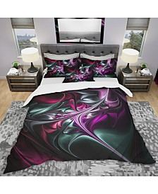 Designart 'Multicolored Abstract Floral Shapes' Traditional Duvet Cover Set - King