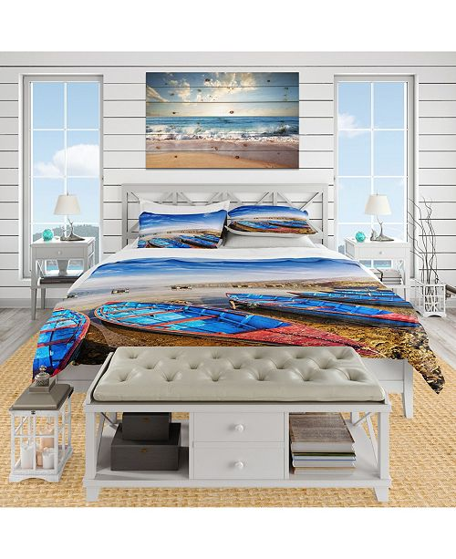 Design Art Designart 'Blue Boats Under Blue Sky' Coastal Duvet Cover Set - Twin
