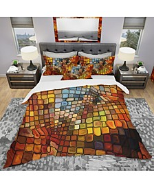 Designart 'Dreaming Of Stained Glass' Modern and Contemporary Duvet Cover Set - Queen