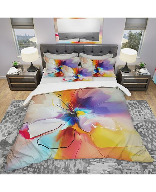 Design Art Designart 'Creative Flower In Multiple Colors' Modern and Contemporary Duvet Cover Set - Twin
