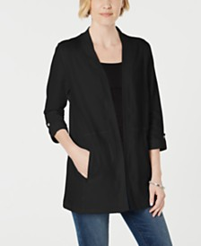 Karen Scott Petite Open-Front 3/4-Sleeve Sweater, Created for Macy's