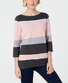 Petite Cotton Striped Sweater, Created for Macy's