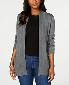 Karen Scott Plus Size Ribbed Open-Front Cardigan, Created for Macy's