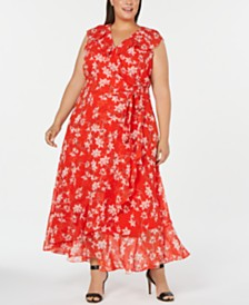 Calvin Klein Plus Size Floral-Print Wrap Maxi Dress