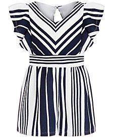 Little Girls Textured Striped Romper