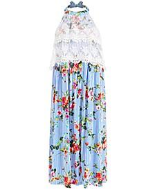 Little Girls Floral-Print Halter Maxi Dress