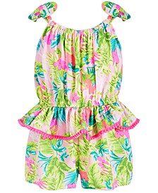 Little Girls Floral-Print Peplum Romper