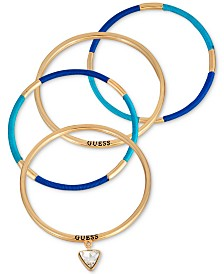 GUESS Gold-Tone 4-Pc. Set Crystal & Thread-Wrapped Bangle Bracelets