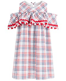 Little Girls Plaid Seersucker Cold-Shoulder Dress