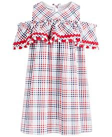 Little Girls Plaid Seersucker Cold-Shoulder Dress