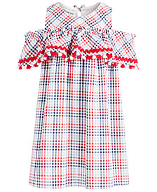 Bonnie Jean Little Girls Plaid Seersucker Cold-Shoulder Dress