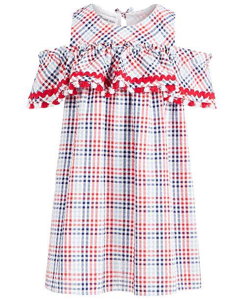 Bonnie Jean Little Girls Plaid Seersucker Cold-Shoulder Dress