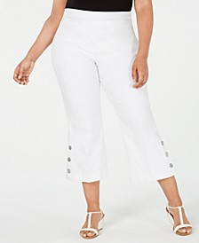 Plus Size Button-Trim Cropped Pants, Created for Macy's