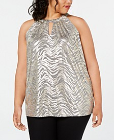 INC Plus Size Metallic Halter-Neck Top