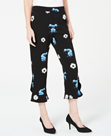 Alfani Floral-Print Ruffle-Hem Ankle Pants, Created for Macy's