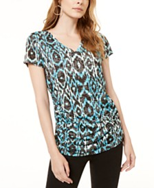 I.N.C. Petite Ruched Printed Top, Created for Macy's