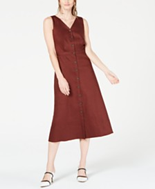 Alfani V-Neck Sleeveless Button-Down Dress, Created for Macy's
