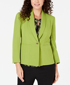 Kasper One-Button Stretch Crepe Blazer