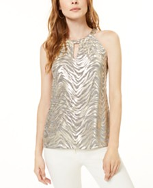 I.N.C. Petite Metallic Zebra-Print Halter Top, Created for Macy's