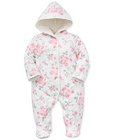Baby Girls Cotton Quilted Floral-Print Coverall