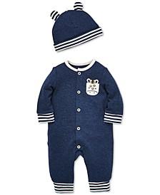 Baby Boys 2-Pc. Cotton Giraffe Coverall & Hat Set