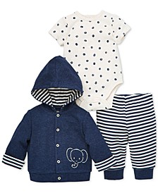Baby Boys 3-Pc. Cotton Hoodie, Bodysuit & Jogger Pants Set