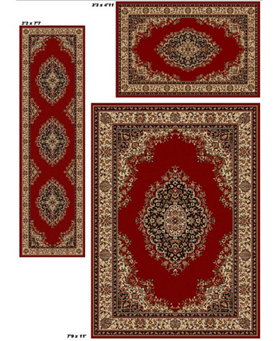 Km Home Area Rug Set Roma Collection 3 Piece Kerman Red