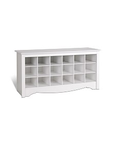 Prepac 18 Pair Shoe Storage Cubby Bench
