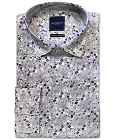 Men's Modern-Fit Performance Stretch Wrinkle-Resistant Floral Stripe-Print Dress Shirt