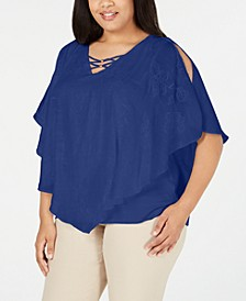 Plus Size  Embroidered Textured Top, Created for Macy's
