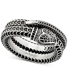 Coiled Snake Double Band Ring in Sterling Silver