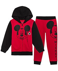 Little Boys Mickey Mouse 2-Pc. Colorblocked Hoodie & Joggers Set
