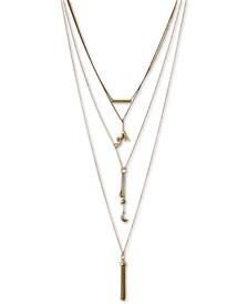 """Gold-Tone Hanging Monkey 15-3/4"""" Layered Necklace"""