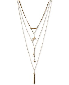 "Lucky Brand Gold-Tone Hanging Monkey 15-3/4"" Layered Necklace"