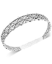 Silver-Tone Openwork Cuff Bracelet