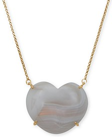 "Gold-Tone Imitation Mother-of-Pearl Heart 32"" Pendant Necklace"